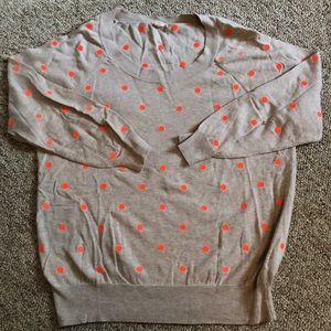 JCrew Beige Sweater w Neon Orange Polka Dots